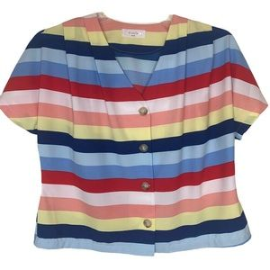 Elodie Women's Striped Button Front V-Neck Blouse